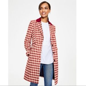 NWT Boden Eastbourne gingham check coat
